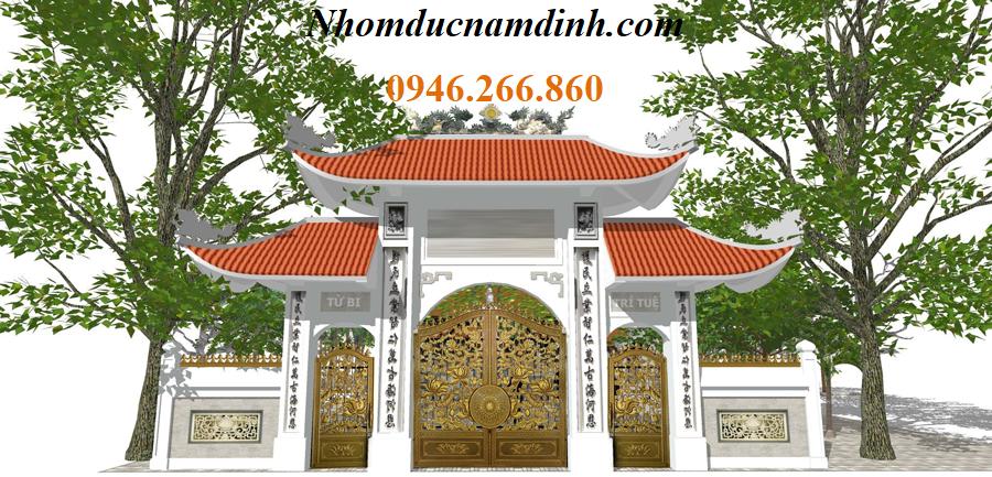 cổng chùa nhôm đúc 3