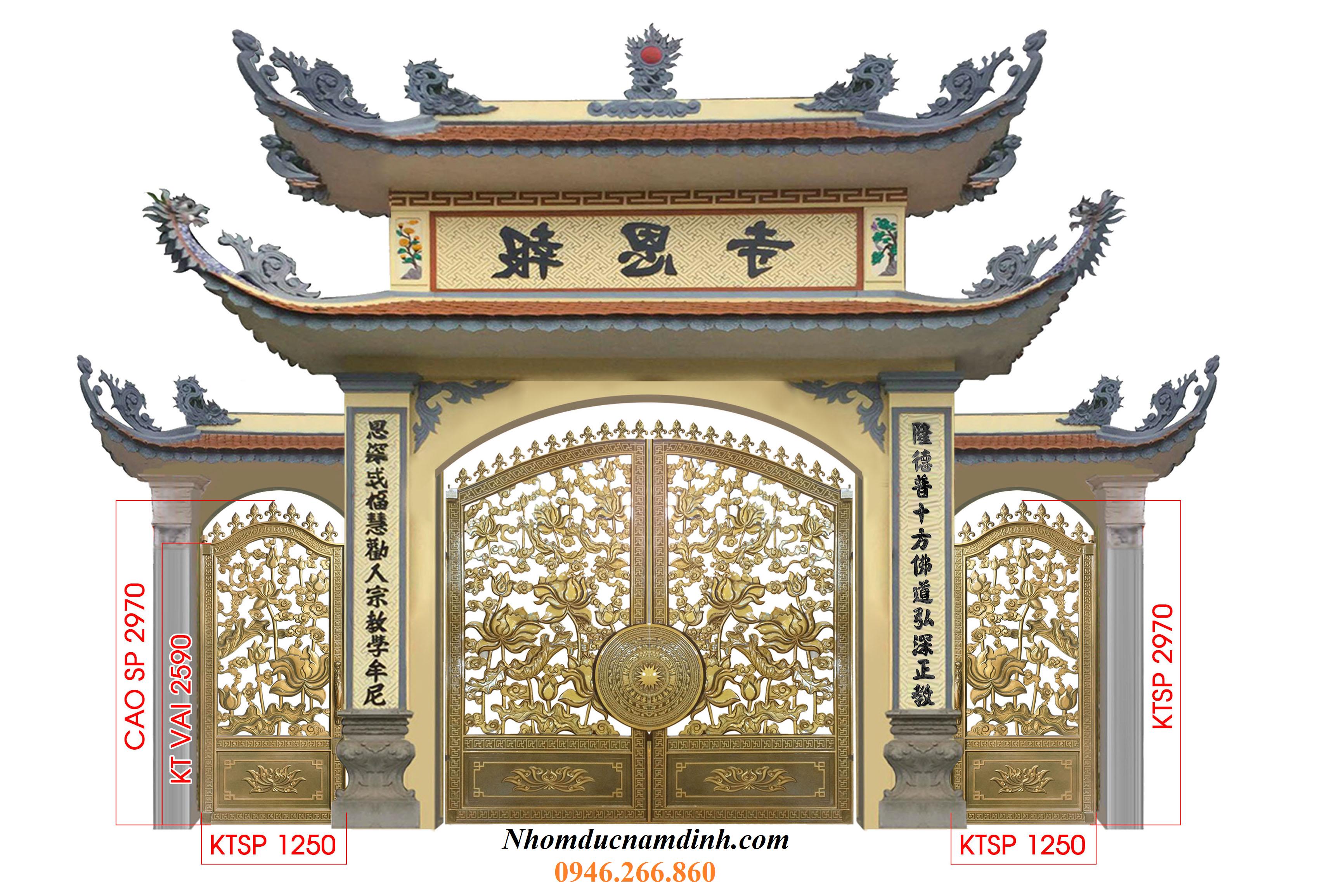 cổng chùa nhôm đúc 4
